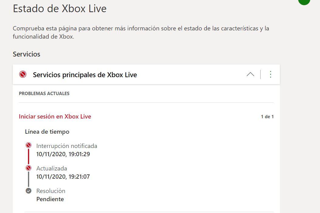 No es tu consola, Xbox Live está fallando en este momento