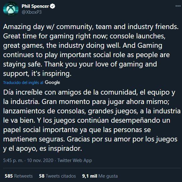 Phil Spencer agradece el apoyo y dedica algunas palabras por el lanzamiento de las nuevas consolas