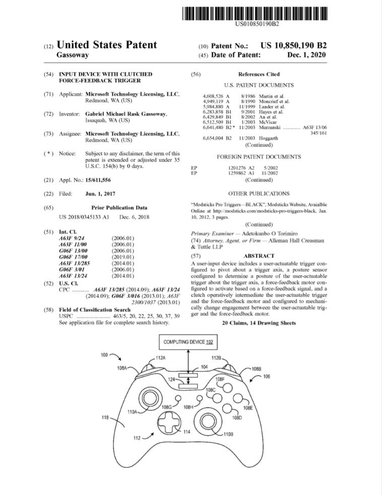 Force feedback -Microsoft Patente