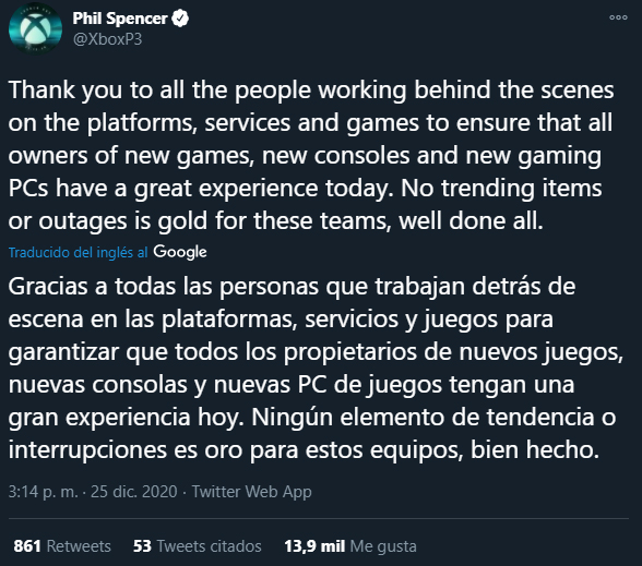 Phil Spencer Tweet navidad