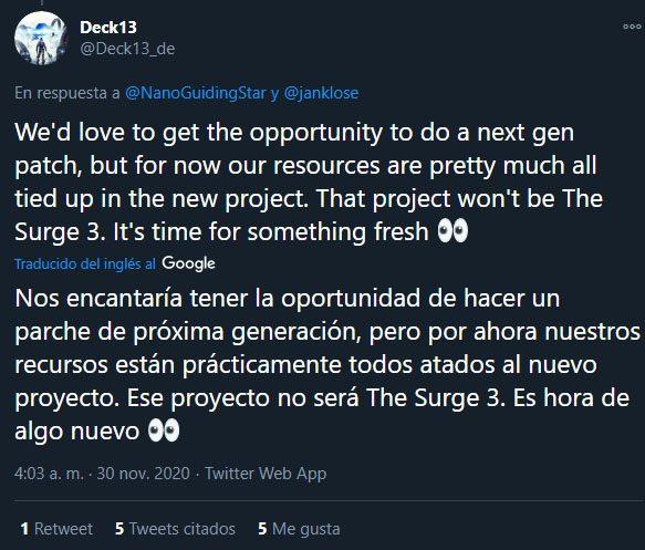 Deck 13 autores de The Surge dan nuevos detalles sobre su próximo juego