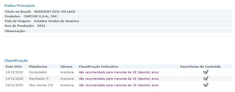Resident Evil Village clasificado en Brasil y ni rastro de Xbox One o PS4