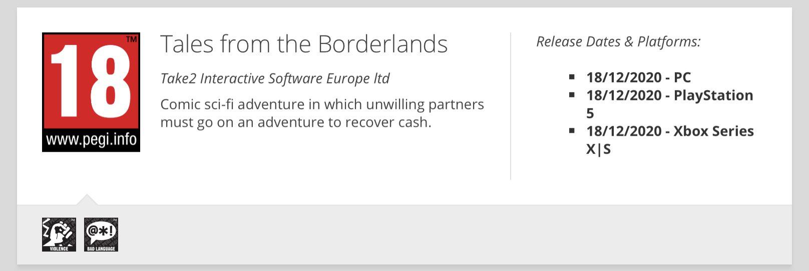 Tales From Borderlands - PEGI
