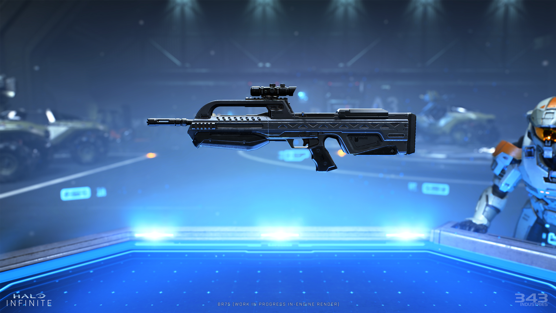 343 Industries displays images and information on some weapons available in Halo Infinite