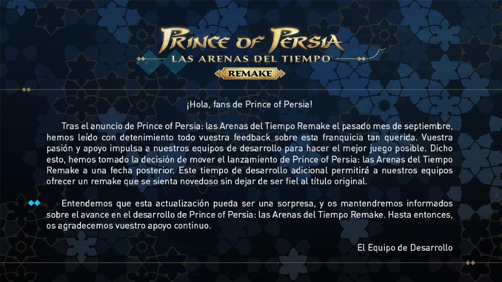 Retraso Prince of Persia: Las Arenas del Tiempo Remake