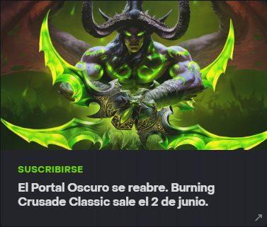 Burning Crusade llega a World of Warcraft Classic el próximo 2 de junio - Tras las filtraciones de hace unas semanas, se ha confirmado que la Burning Crusade llegará a World of Warcraft Classic el próximo 2 de junio.