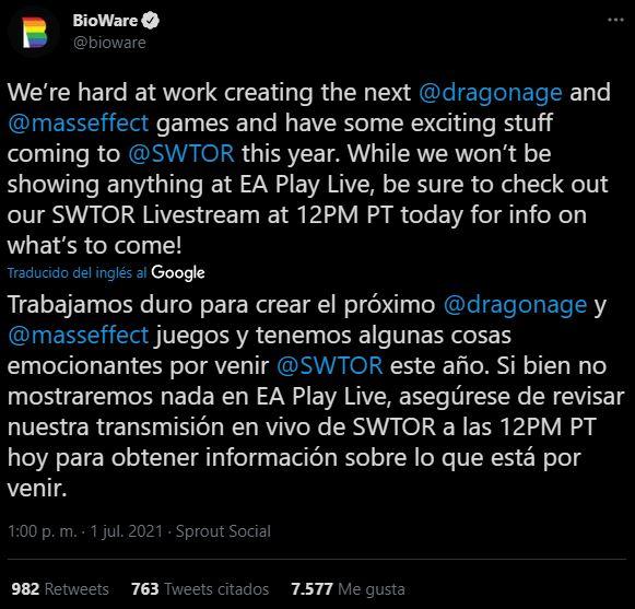 tweet bioware ea play live