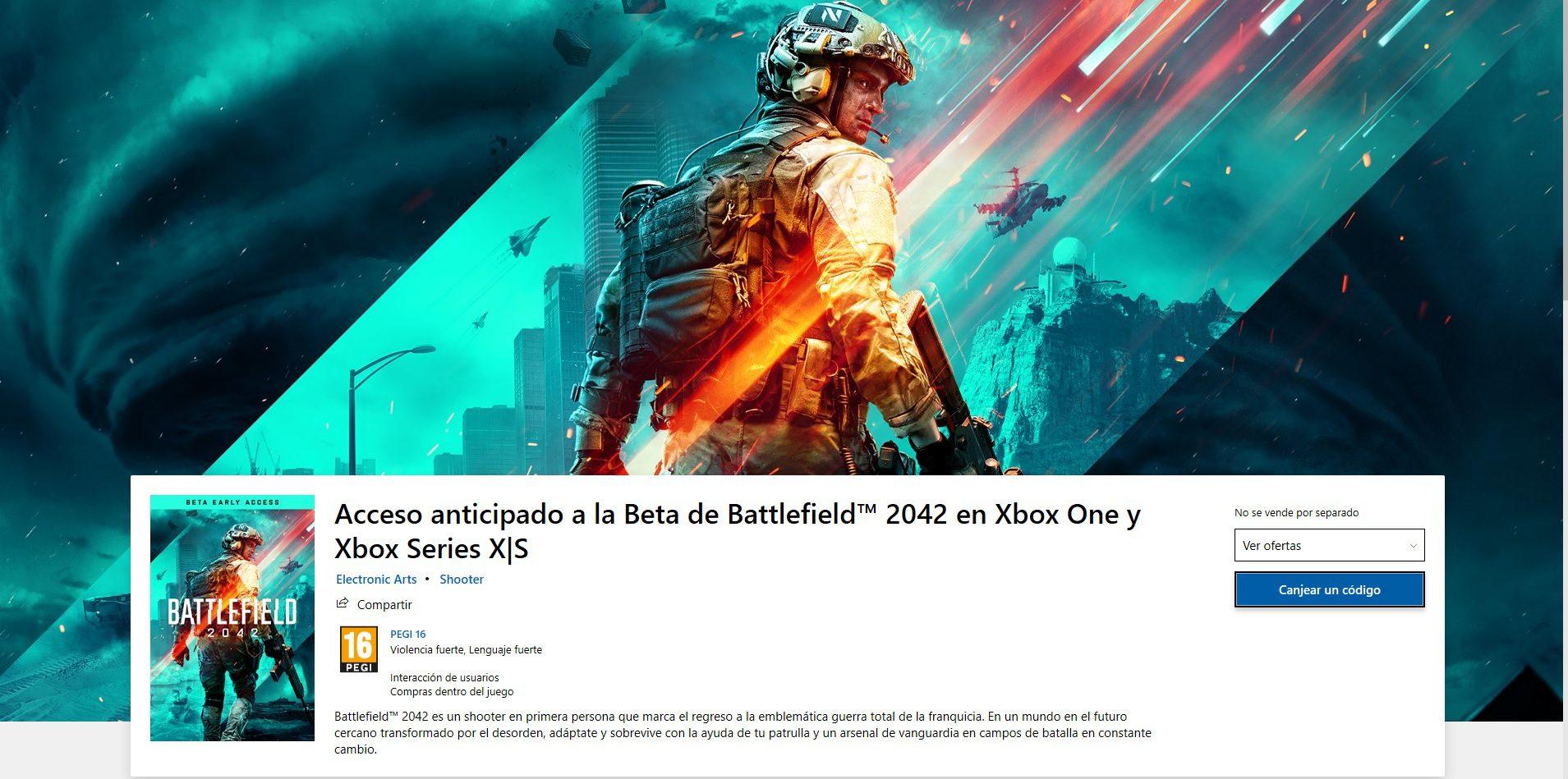 El acceso a la beta de Battlefield 2042 aparece en la Microsoft store - El acceso a la beta multijugador de Battlefield 2042 aparece repentinamente en la store oficial de Microsoft.