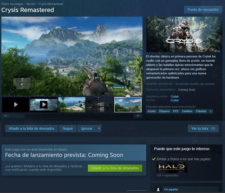 Ya puedes añadir Crysis Remastered a tu lista de deseados en Steam - Crysis Remastered ya se puede añadir a la lista de deseados de Steam, lo que confirma que llegará muy pronto a la plataforma.