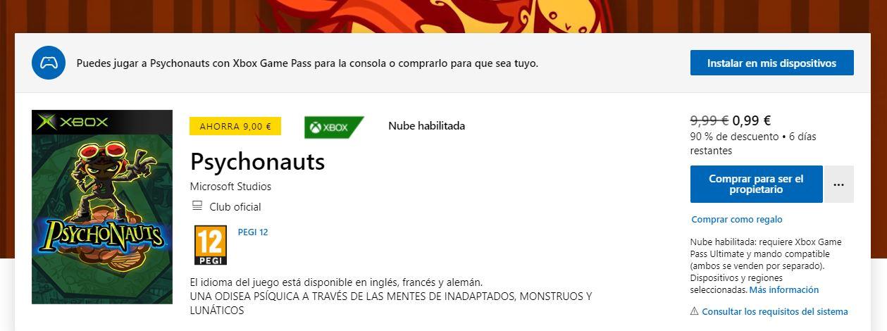 Llévate el primer Psychonauts por menos de 1 euro - El primer Psychonatus está ahora mismo a 99 céntimos de euro en la Microsoft Store. No te lo pienses y hazte con él.