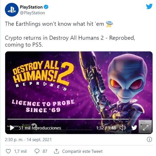 destroy all humans 2 PS Tweet